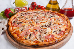 Pizza with Mushrooms and Ham Royalty Free Stock Photo