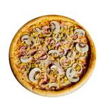 Pizza with mushrooms and ham isolate royalty free stock photos