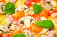 Pizza with mushrooms, ham and vegetables Stock Photos