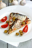 Pizza with mushrooms and sardine Stock Photography