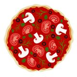 Pizza with mushrooms and tomatoes in vector Stock Photos