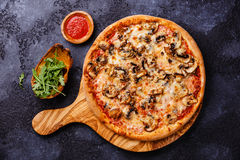 Pizza with mushrooms Royalty Free Stock Photo