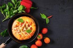 Pizza na bandeja imagem de stock
