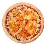 Pizza na białym odgórnym widoku obrazy stock
