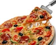 Pizza na białym tle, oszczędzona ścinek ścieżka obrazy stock