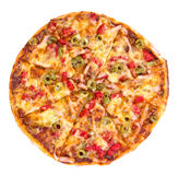 Pizza na biały tle Fotografia Royalty Free
