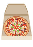 Pizza na caixa Foto de Stock Royalty Free