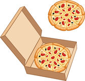 Pizza na caixa Imagem de Stock Royalty Free