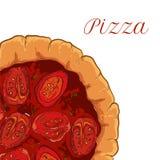 Pizza napoletana di vettore con il pomodoro ed il basilico Fotografia Stock Libera da Diritti