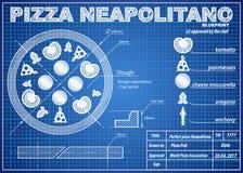 Pizza Neapolitano ingredients blueprint scheme Stock Photo