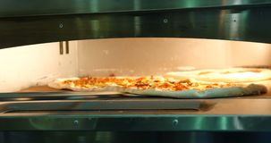 Pizza nel forno, processo di cottura, cucinante video d archivio