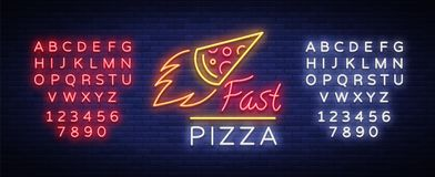 Pizza neon sign vector. Pizzeria neon logo, emblem. Neon advertising on the topic of pizza cafe, restaurant, dining room. Snack bar, bar. Shining banner stock illustration