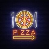 Pizza neon sign vector. Pizzeria neon logo, emblem. Neon advertising on the topic of pizza cafe, restaurant, dining room. Snack bar, bar. Bright night royalty free illustration