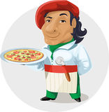Pizza. A nice Italian man cook, in the clothes of the color of the Italian flag holds in his hand on a pizza tray Stock Photos