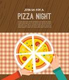 Pizza night invitation. People having dinner Royalty Free Stock Photography