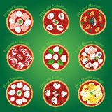 Pizza nine. Nine classic italian pizza from top Royalty Free Stock Image