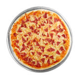 Pizza no disco (fundo branco) Imagens de Stock