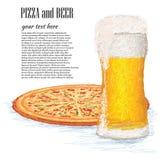 Pizza och öl Arkivbild