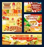 Pizza och grillfest, snabbmat och mexicansk kokkonst vektor illustrationer