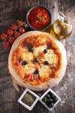 Pizza och ingrediens royaltyfri foto