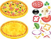 Pizza- och ingrediensillustration Arkivfoto