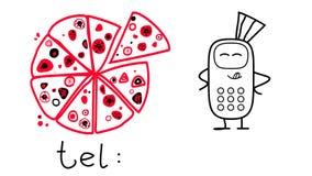 Pizza och telefon på en vit bakgrund Tecknad filmstil stock illustrationer