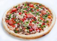 Pizza, olika sorter av pizza till menyn av restaurangen och pizzeria Arkivfoton