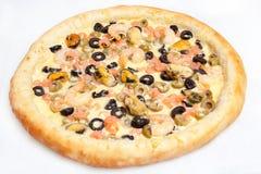 Pizza, olika sorter av pizza till menyn av restaurangen och pizzeria Fotografering för Bildbyråer
