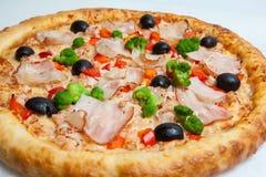 Pizza, olika sorter av pizza till menyn av restaurangen och pizzeria Royaltyfri Foto