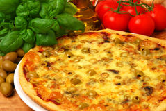 Pizza with olives. And mozzarella cheese stock photo