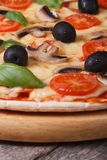 Pizza with olives, champignons tomatoes and basil Stock Image