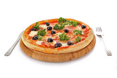 Pizza with olives on plate Royalty Free Stock Photo