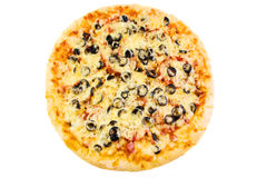 Pizza with olives, sausage and bacon. On the white background (top view Stock Image