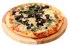 Pizza with olives. Tasty pizza with olives and cheese on white Stock Photos