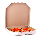 Pizza with olives and tomatoes in box Stock Images
