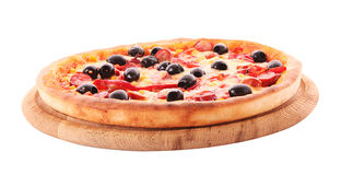 Pizza with olives on wooden plate isolated Royalty Free Stock Image