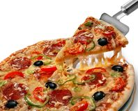 Free Pizza On A White Background, Saved Clipping Path Stock Images - 139485944