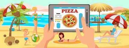 Pizza online di ordine sulla spiaggia Famiglia sulla spiaggia illustrazione di stock