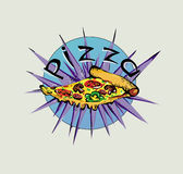 Pizza op een lichte achtergrond met lint Stock Afbeelding