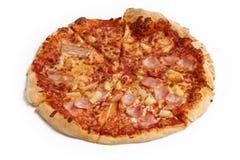 Pizza op een Witte Achtergrond 1 Stock Afbeeldingen