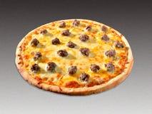 Pizza op grijs stock foto