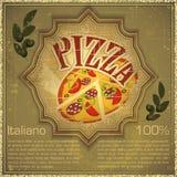 Pizza op grungeAchtergrond Stock Fotografie
