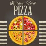 Pizza op het bord Stock Afbeelding