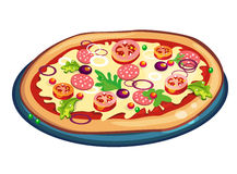 Pizza op wit Royalty-vrije Stock Afbeeldingen