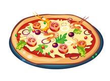 Pizza op wit Stock Foto