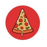 Pizza op witte achtergrond Pizzavoorwerp Stock Foto