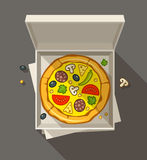 Pizza in open box. Vector illustration. Transparent objects used for lights and shadows drawing Royalty Free Stock Photography