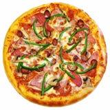 Pizza original clássica italiana fresca isolada no branco Imagem de Stock Royalty Free