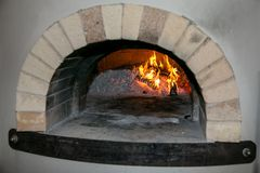 Pizza Oven with Fire Royalty Free Stock Photography