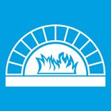 Pizza oven with fire icon white. Isolated on blue background vector illustration Stock Photo